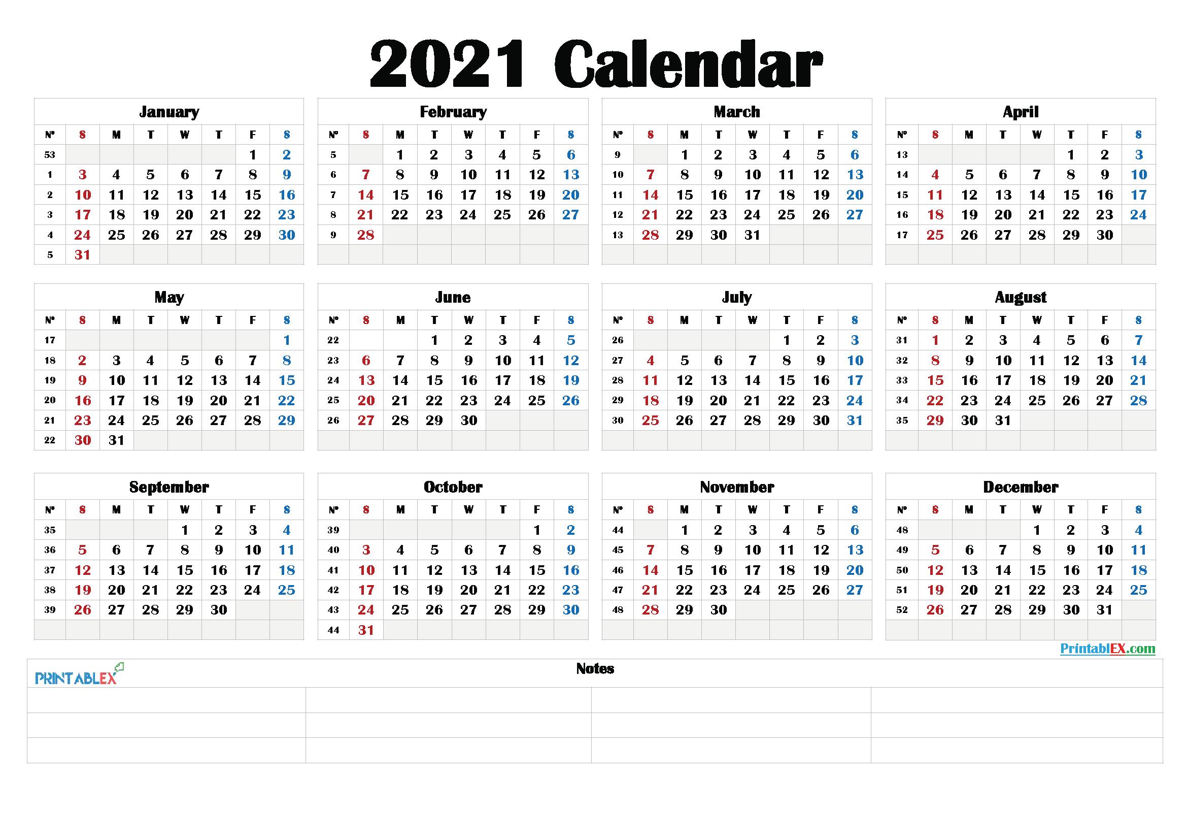 2021 Calendar With Week Number Printable Free / Download-Free Print 2021 Calendars Without Downloading