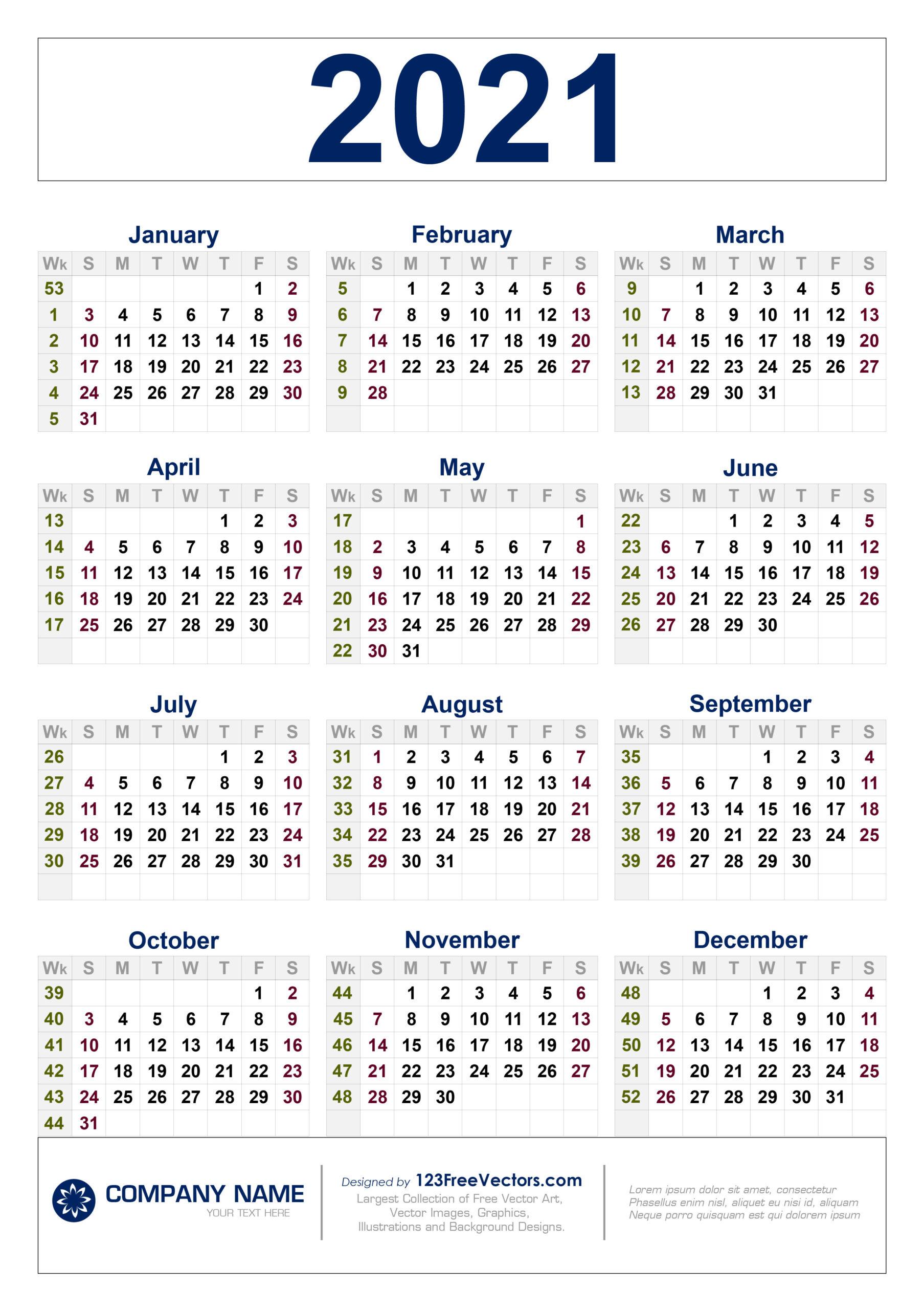 2021 Calendar With Week Number Printable Free / Week-2021 Absentee Calendar