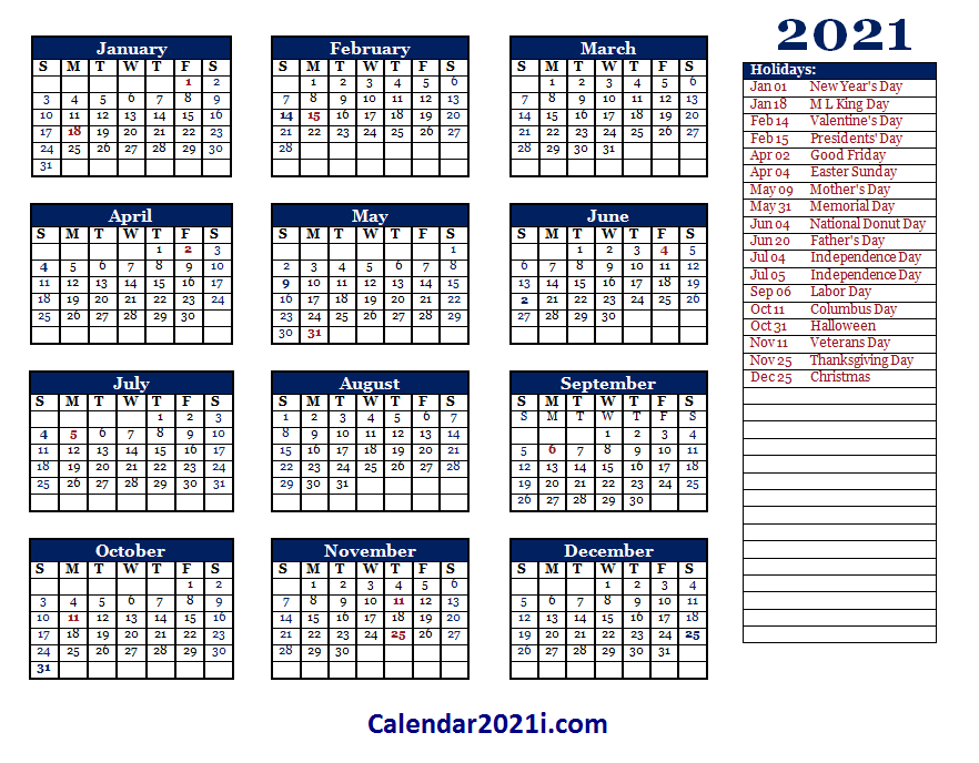 2021 Editable Yearly Calendar Templates In Ms Word, Excel-2021 Vaction Templates