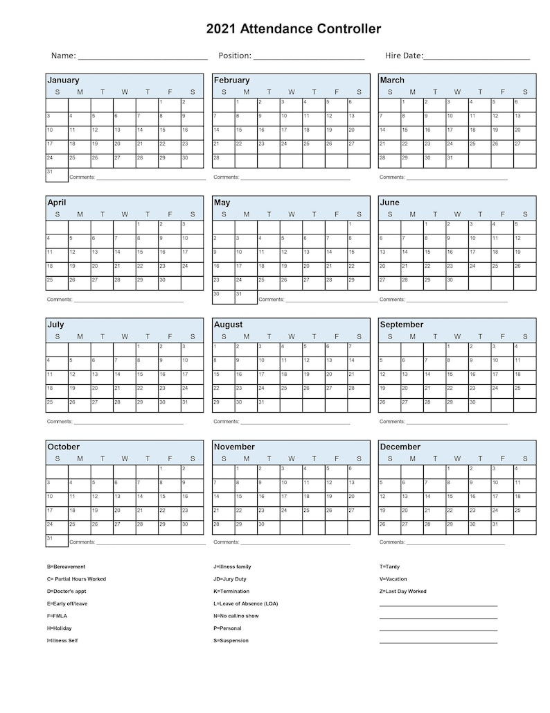 2021 Employee School Attendance Tracker Calendar Employee-2021 Employee Vacation Schedule