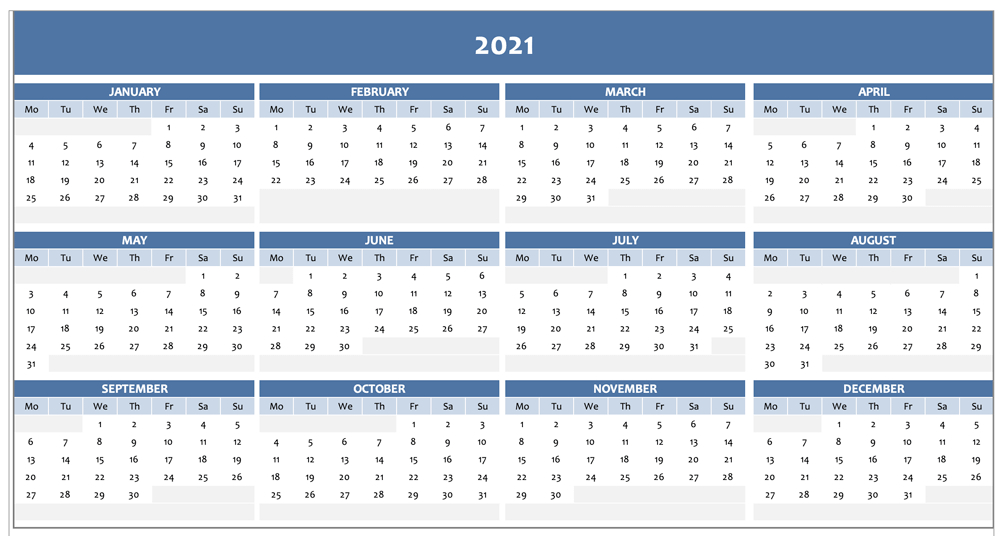 2021 Excel Calendar / 2021 Excel Calendar Templates Free-Excel Calendar Template 2021