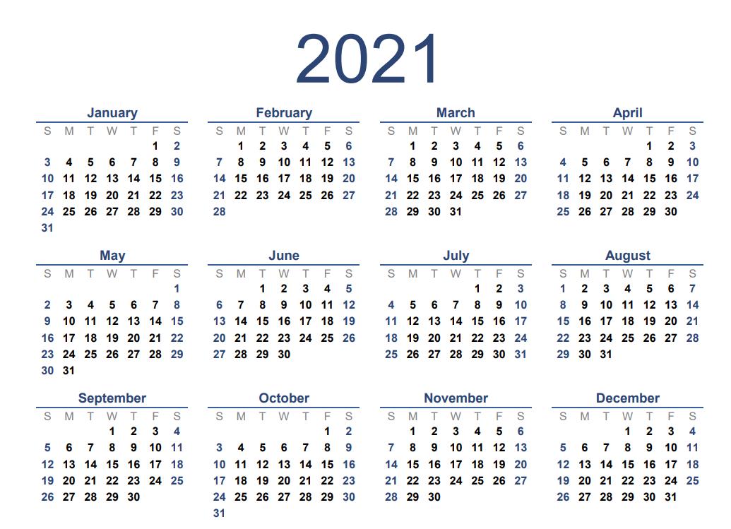 2021 Excel Calendar - Part 3-2021 Office Vacation Calendar Examples