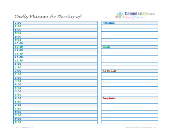 2021 Family Daily Planner - Free Printable Templates-Day To Day Calendar 2021