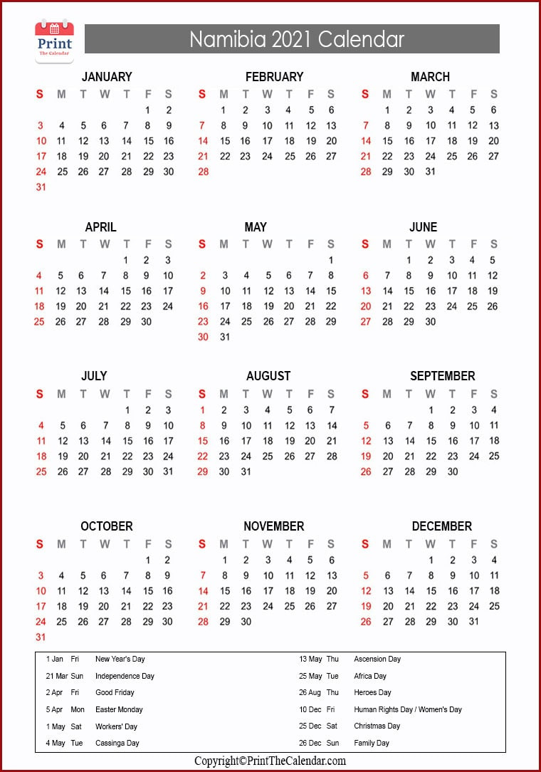 2021 Holiday Calendar Namibia | Namibia 2021 Holidays-2021 Calendard For Vacation Schedule