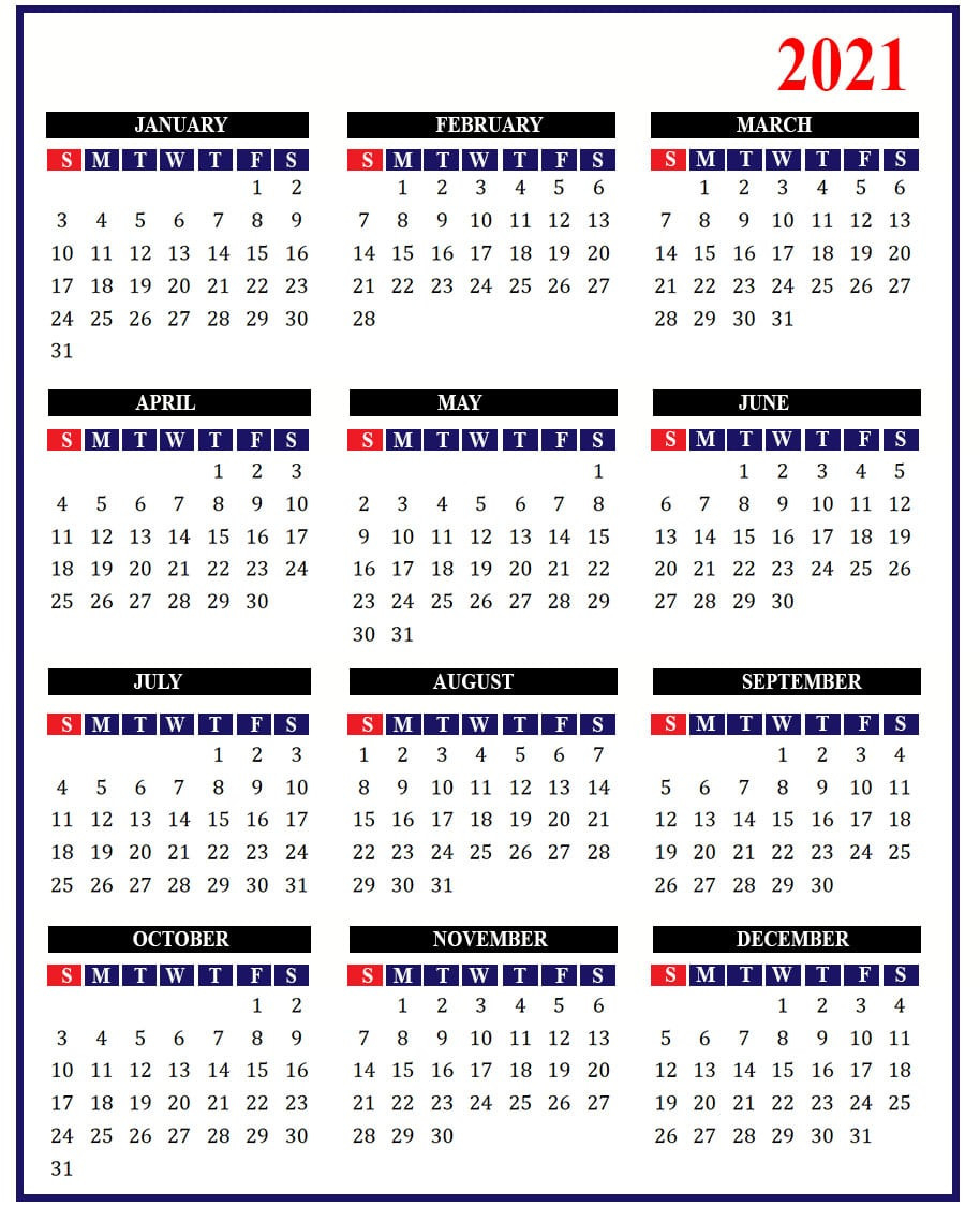 2021 Holidays | Free 2021 Calendar With Holidays-2021 Calendard For Vacation Schedule