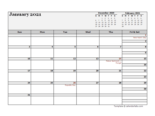 2021 India Calendar For Vacation Tracking - Free Printable-2021 Vacation Calendars