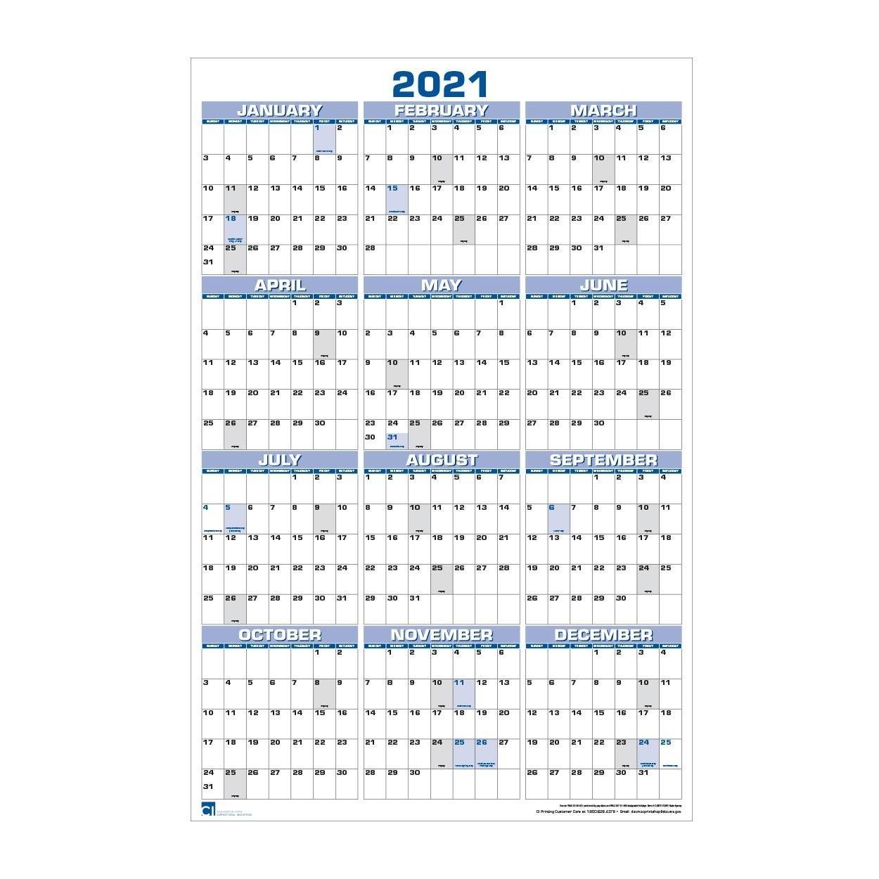 2021 Large Wall Calendar, Year At A Glance (#Clndr-Ygwc-Large Print 2021 Calendar At A Glance Printable