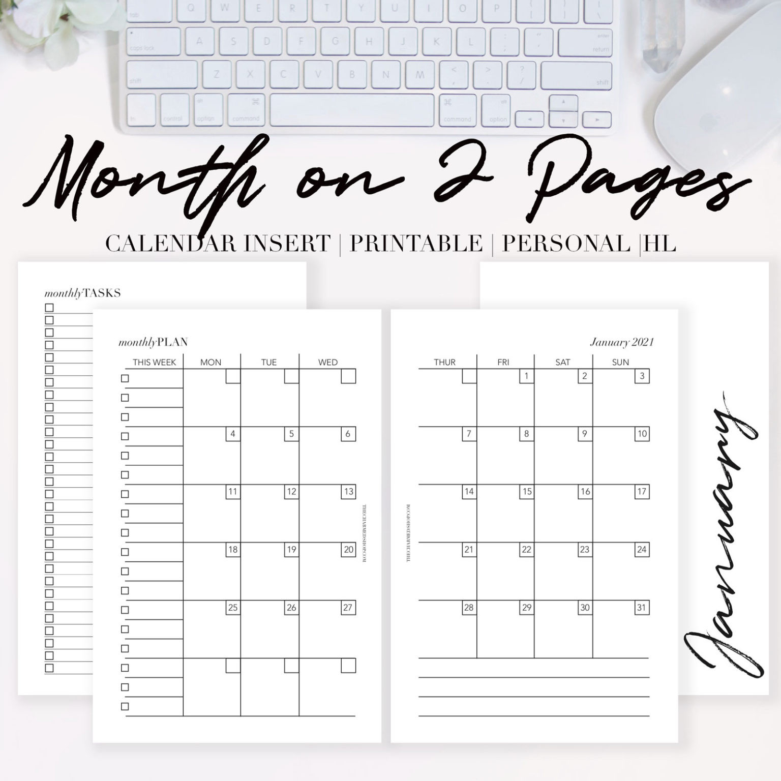 2021 Month On Two Pages Calendar {Printable Pdf} - The-2 Page Calendar 2021