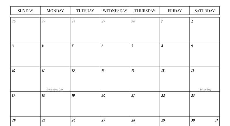 2021 Monthly Calendar With Holidays Sunday-Saturday   Etsy-Editable Calendar October 2021 Sunday Through Saturday