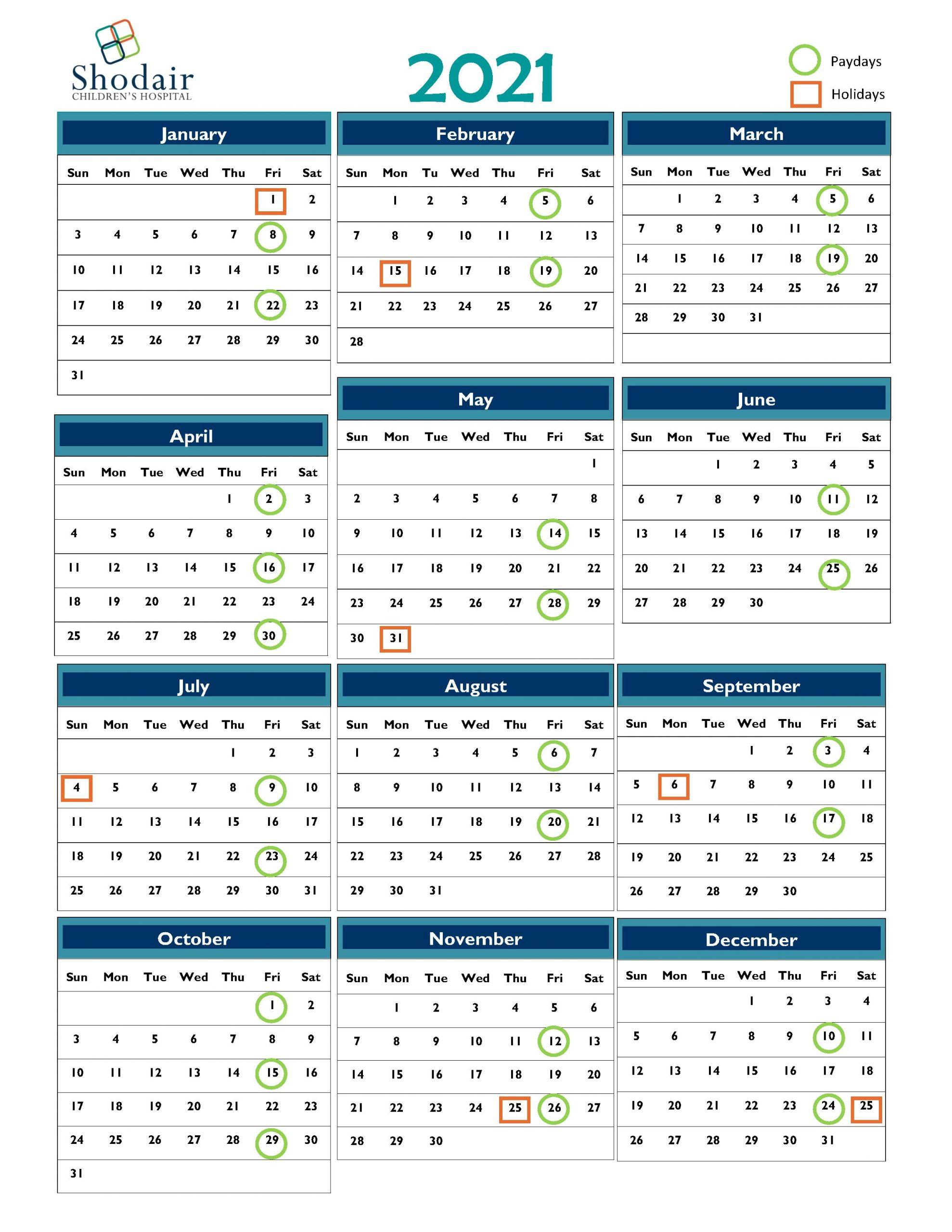 2021 Payroll Calendar | Shodair Children'S Hospital-Bill Payment Calendar 2021