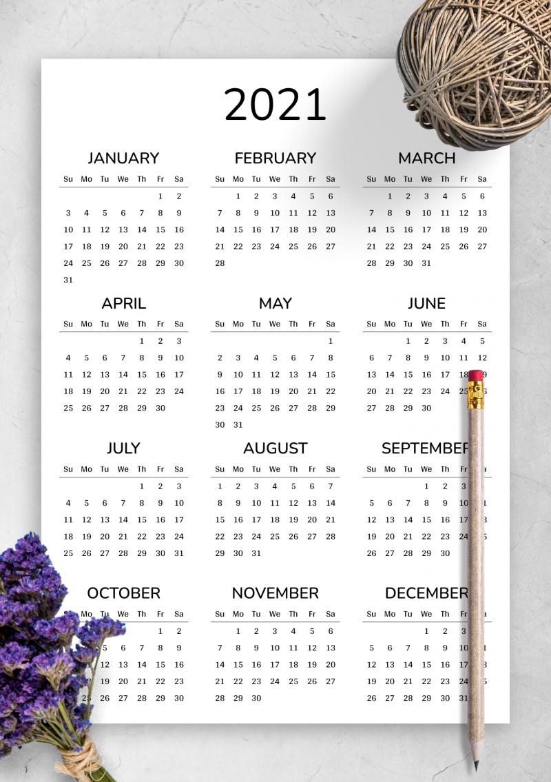 2021 Printable Calendar-Free Printable Downloadable Yearly Calendar 2021