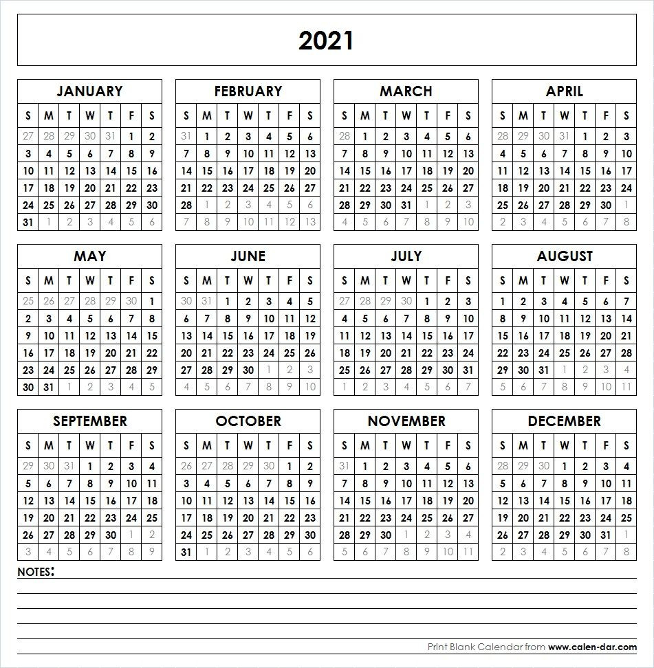 2021 Printable Calendar One Page-2021 Calendars To Fill In And Print