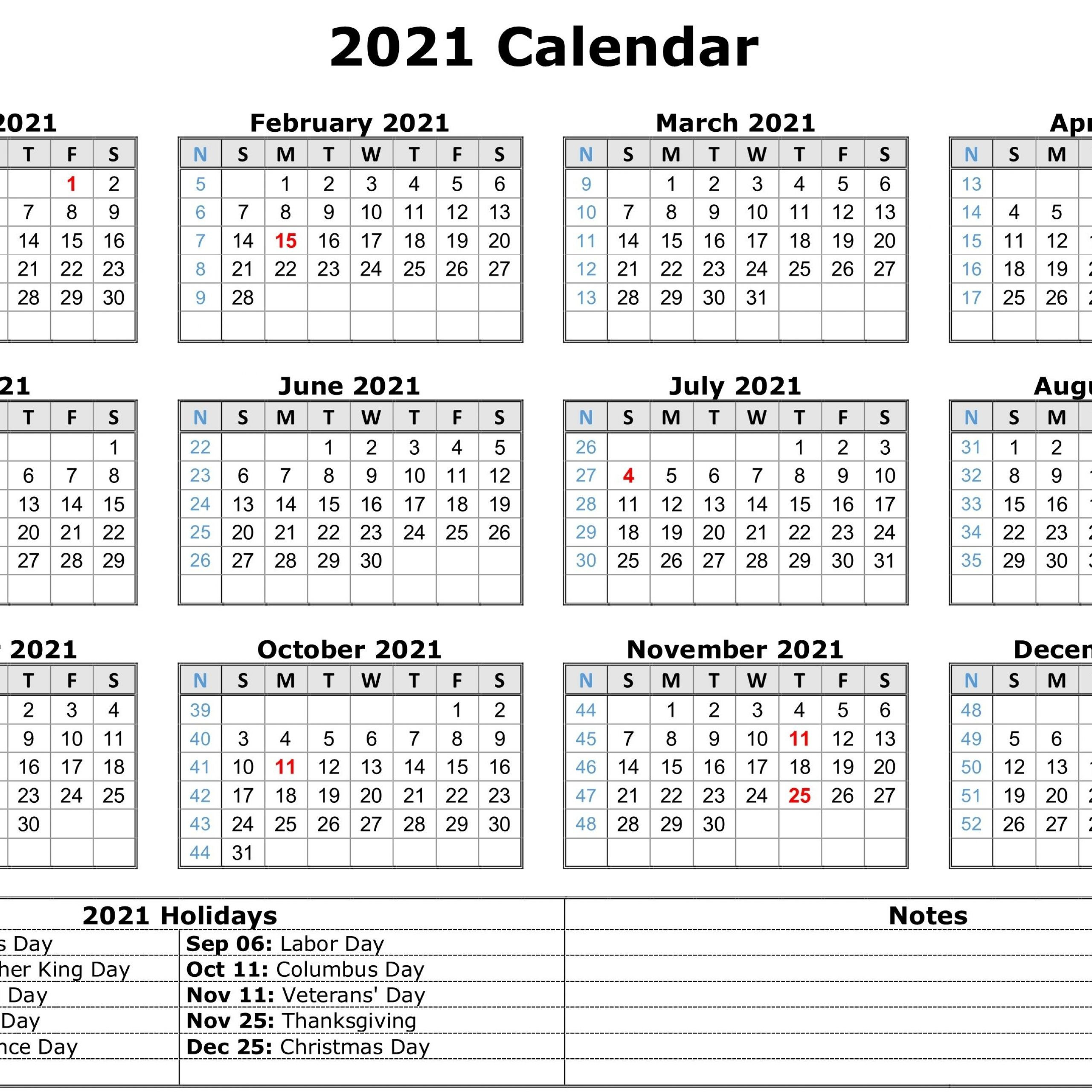 2021 Printable Calendar One Page Pdf   2021 Printable-Free Print 2021 Calendars Without Downloading