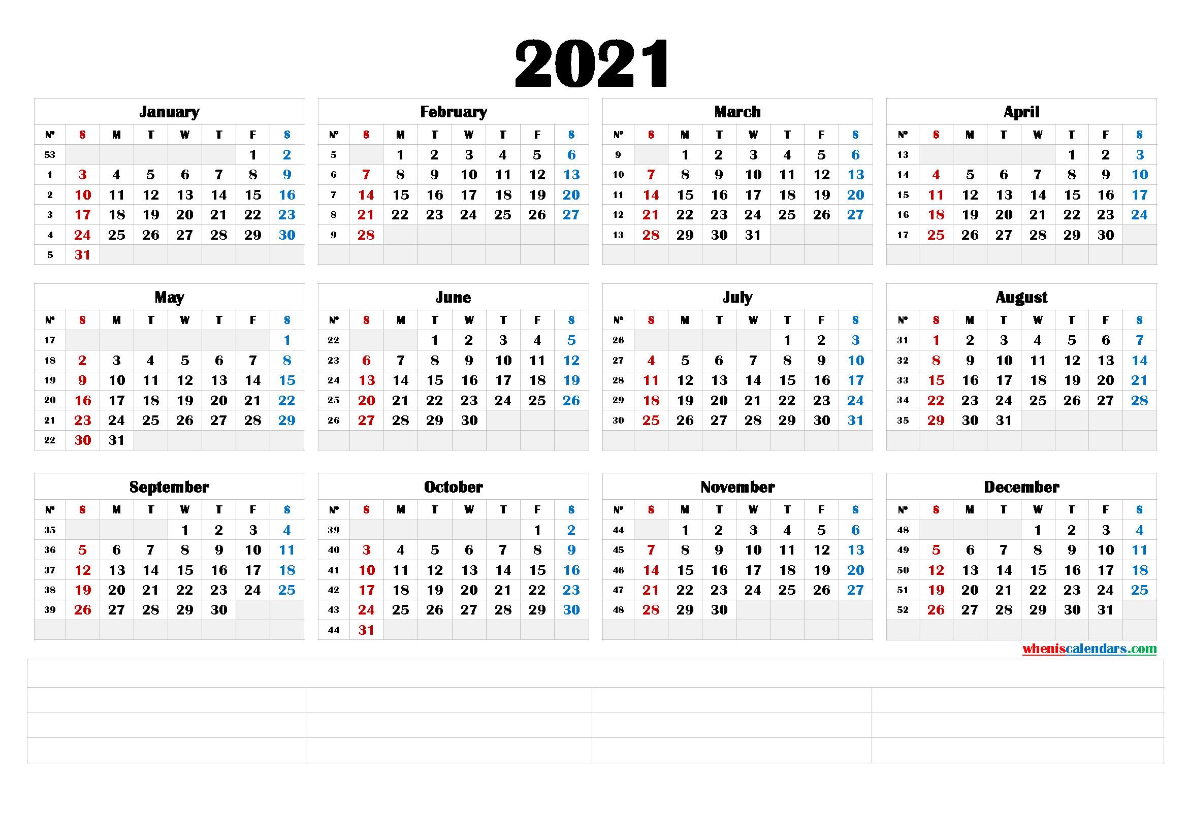 2021 Printable Yearly Calendar With Week Numbers (6 Templates)-2021 Absentee Calendar