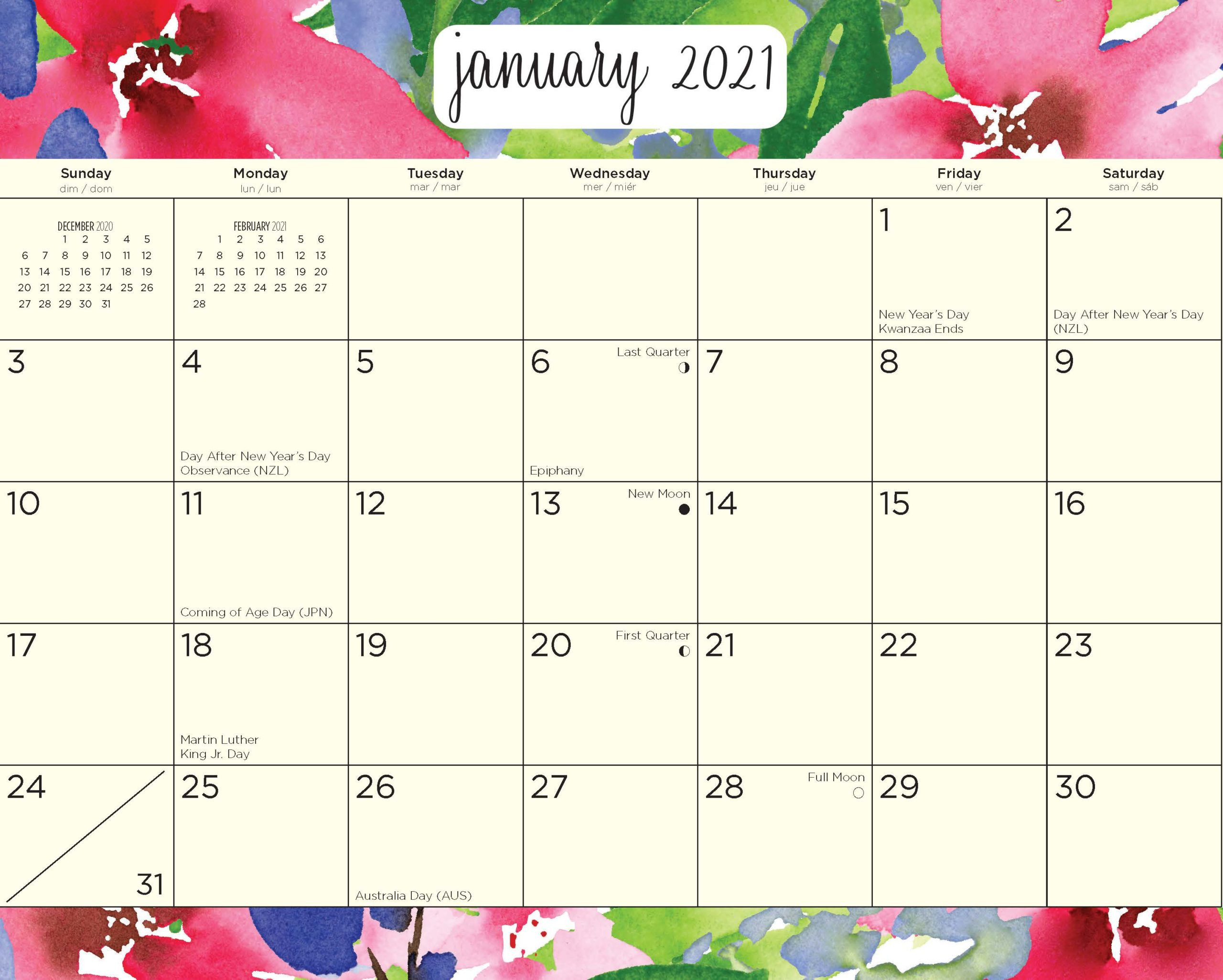 2021 Rosako Calligraphy Magnetic Refrigerator Wall-Day To Day Calendar 2021