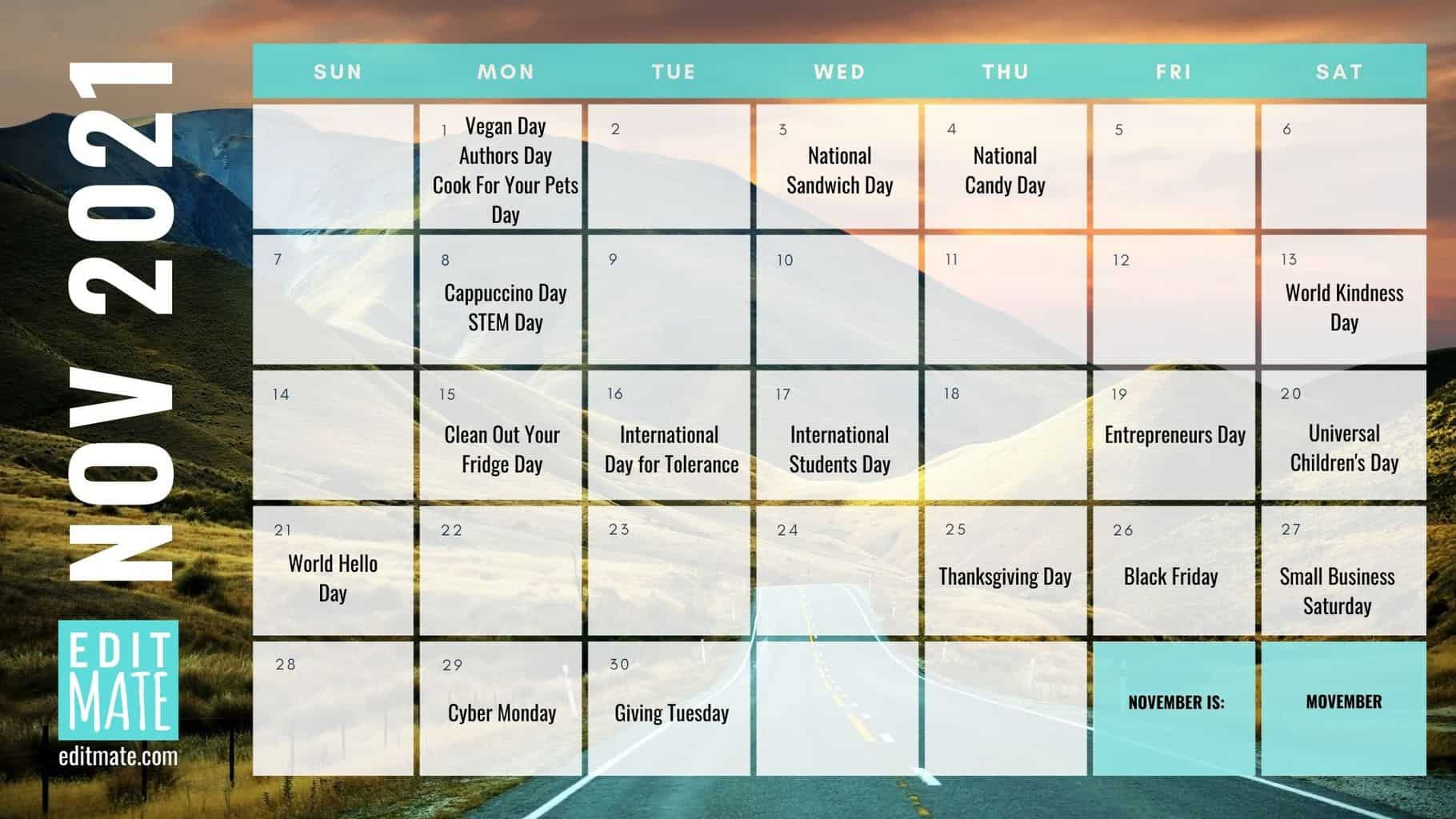 2021 Social Media Holiday Calendar | Editmate-National Food Days 2021 Printable
