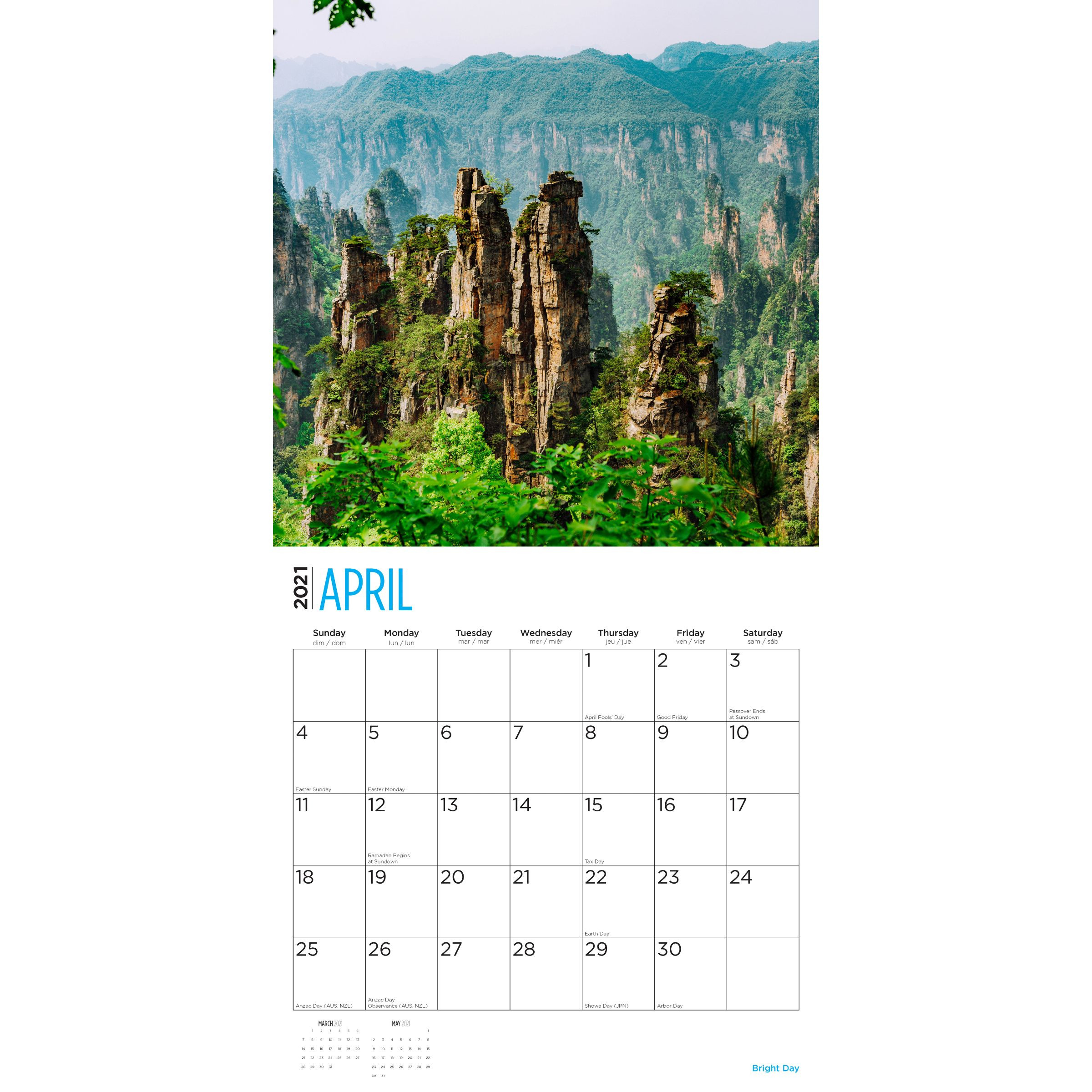 2021 World Travel Wall Calendar - Bright Day Calendars-Day To Day Calendar 2021