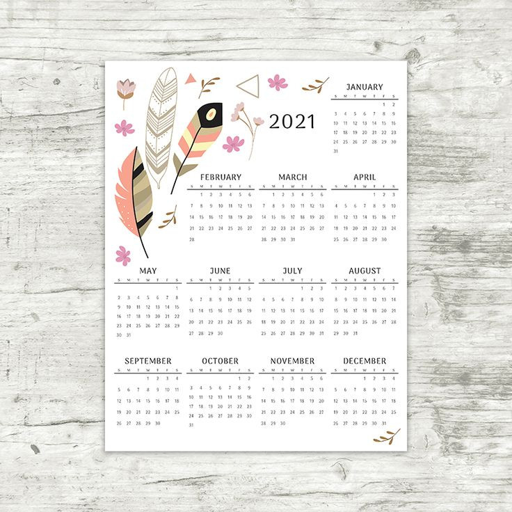 2021 Year At A Glance Calendar | Feathers | Printable-Large Print 2021 Calendar At A Glance Printable