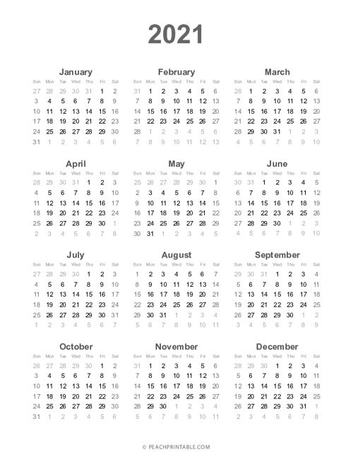 2021 Year At A Glance Calendar Printable | 2021 Year Calendar-Large Print 2021 Calendar At A Glance Printable