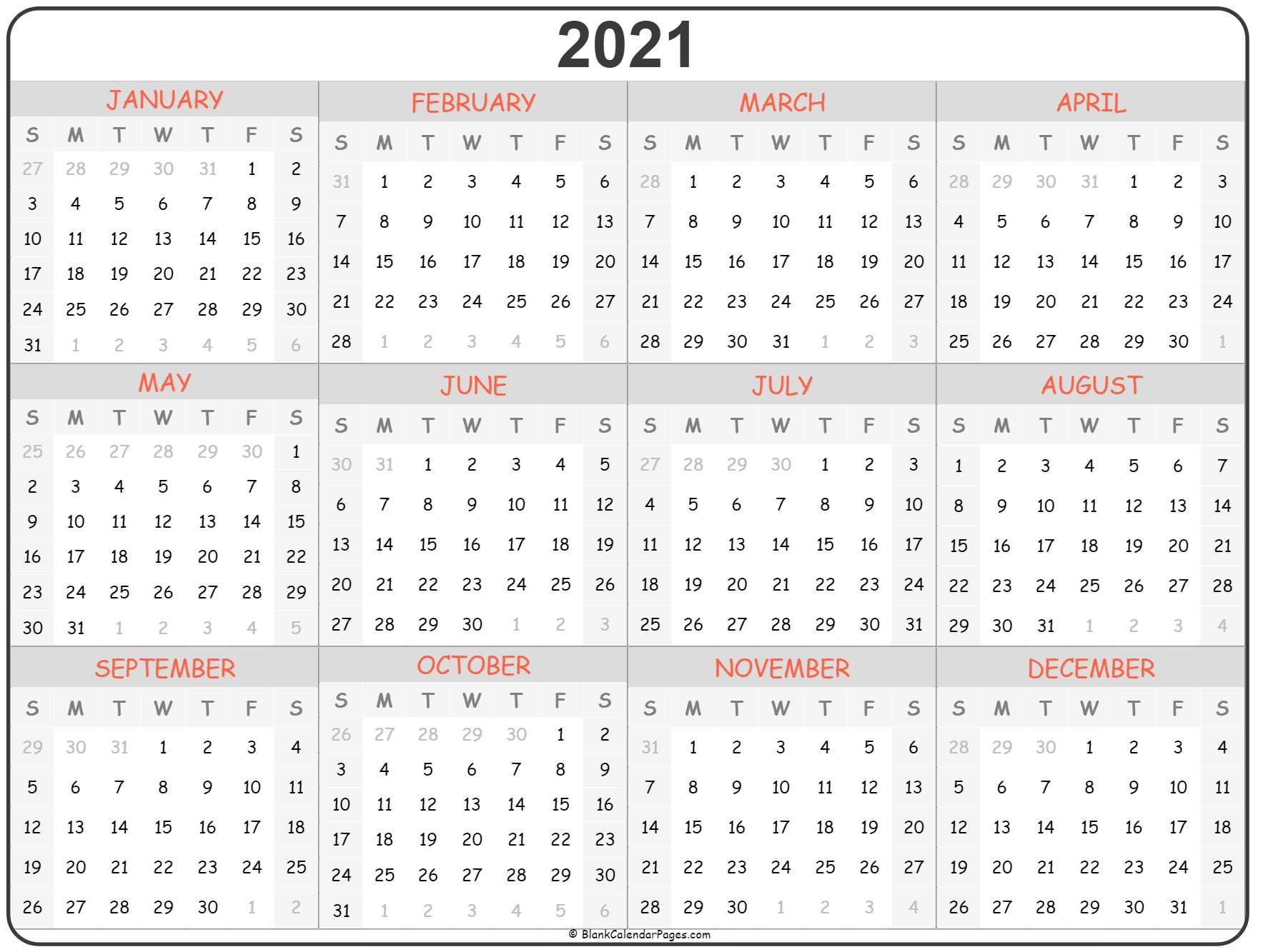 2021 Year Calendar | Yearly Printable-2021 Calendar Squares To Rpint