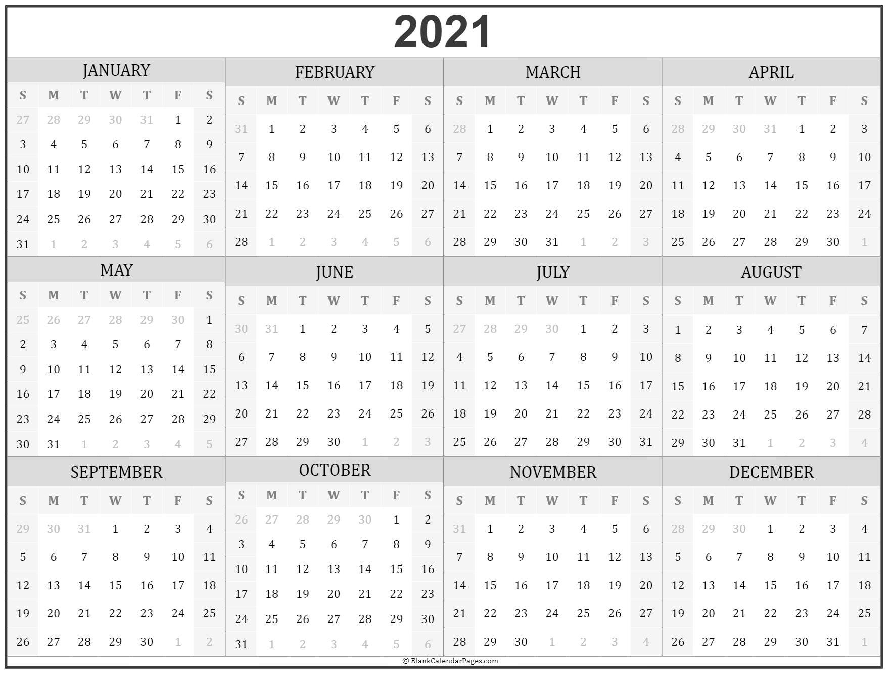 2021 Year Calendar   Yearly Printable-Free Print 2021 Calendars Without Downloading
