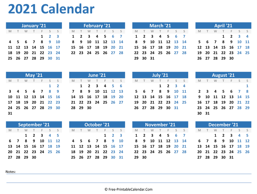 2021 Yearly Calendar-2021 Monthly Calendar Printable Pdf