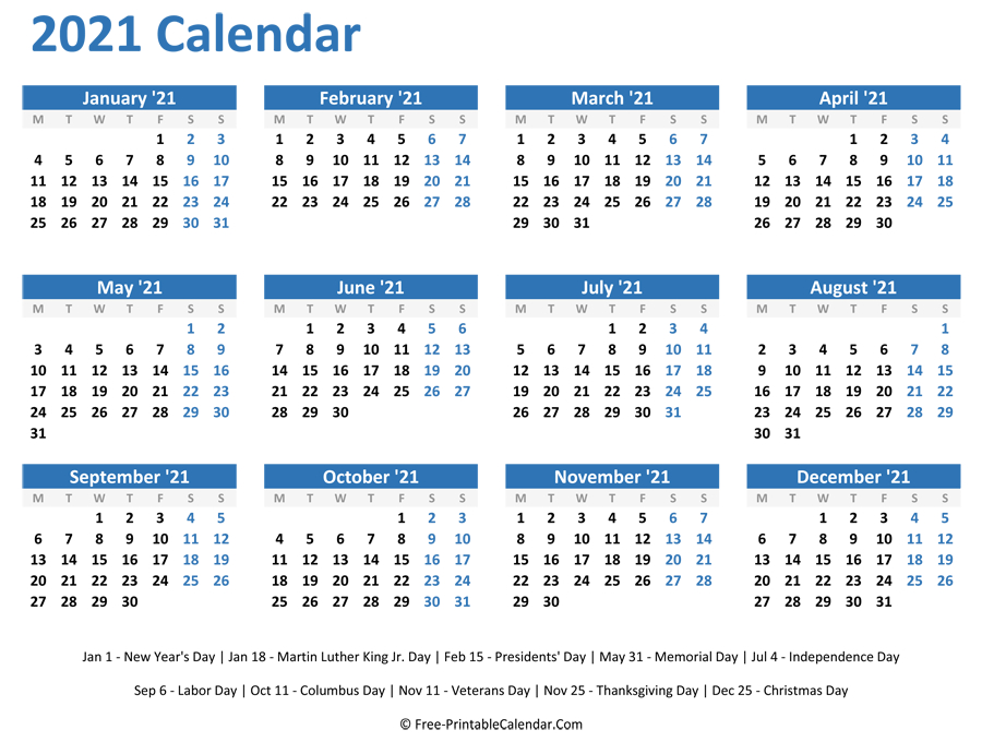 2021 Yearly Calendar-Free Print 2021 Calendars Without Downloading