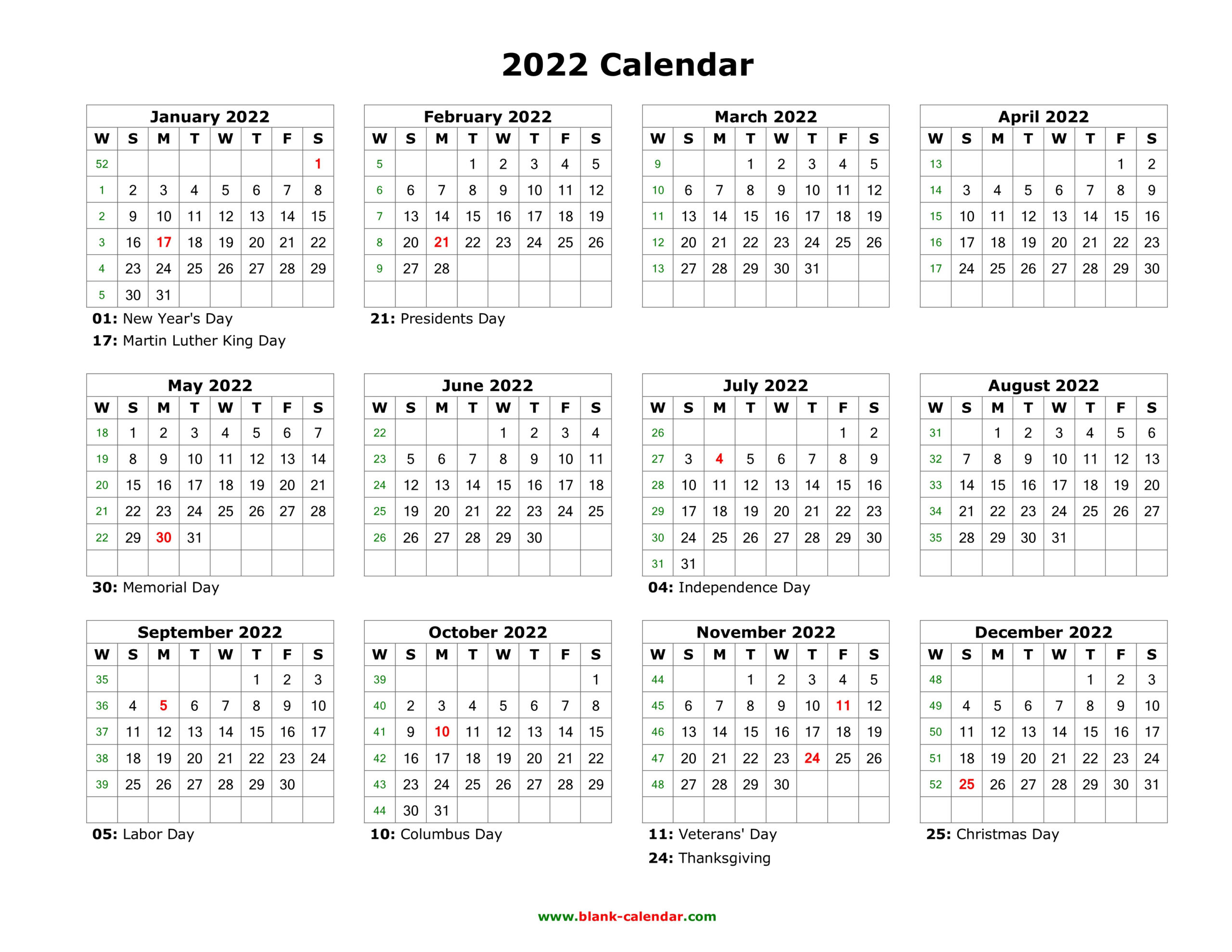 2022 Calendar Printable-2021 Monthly Calendar Printable Pdf