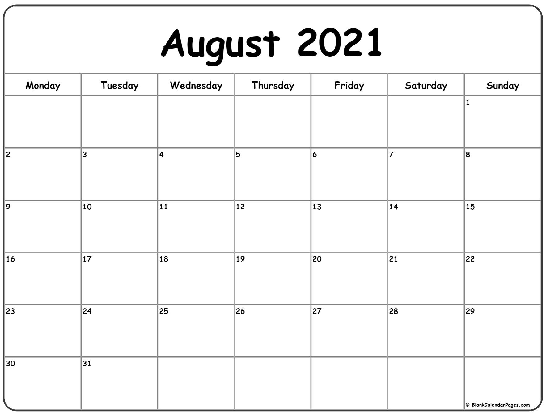30 Beautiful Printable August 2021 Calendars For Free - Onedesblog-October Monday Thru Friday Calendar 2021