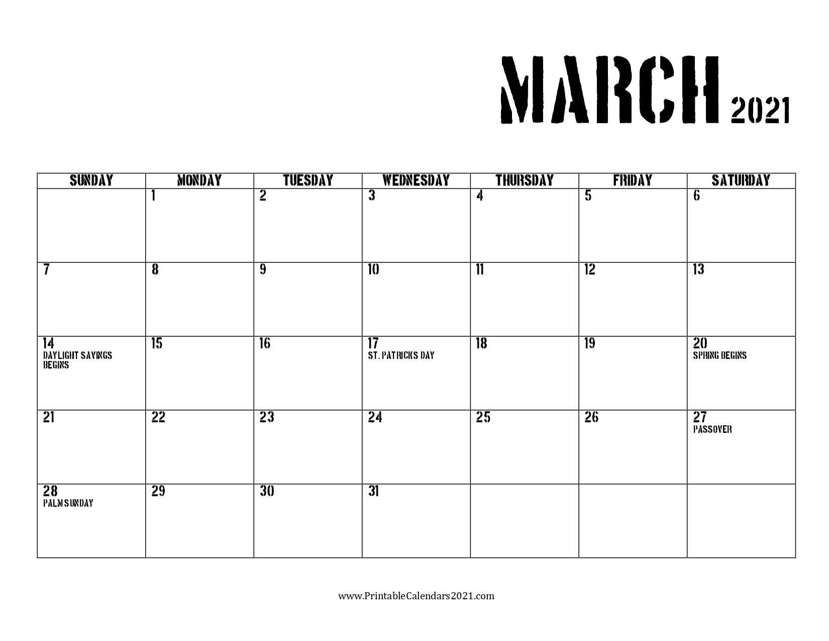 68+ Free March 2021 Calendar Printable With Holidays-2021 Calendar Printable Free Pdf March