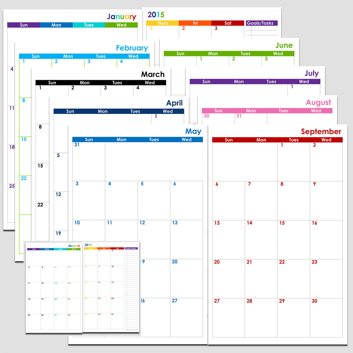 72-Months 2-Page Calendar (6 Years) - Half Size | Legacy-2021 Monthly Calendar 2 Page Per Month Printable