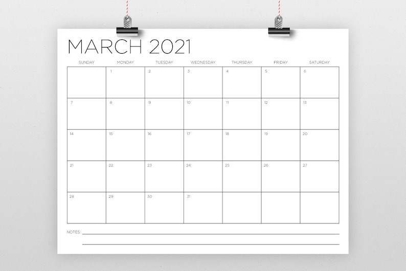 8.5 X 11 Inch 2021 Calendar Template Instant Download   Etsy-2021 81/2 By 11 Attendance Calendar Template