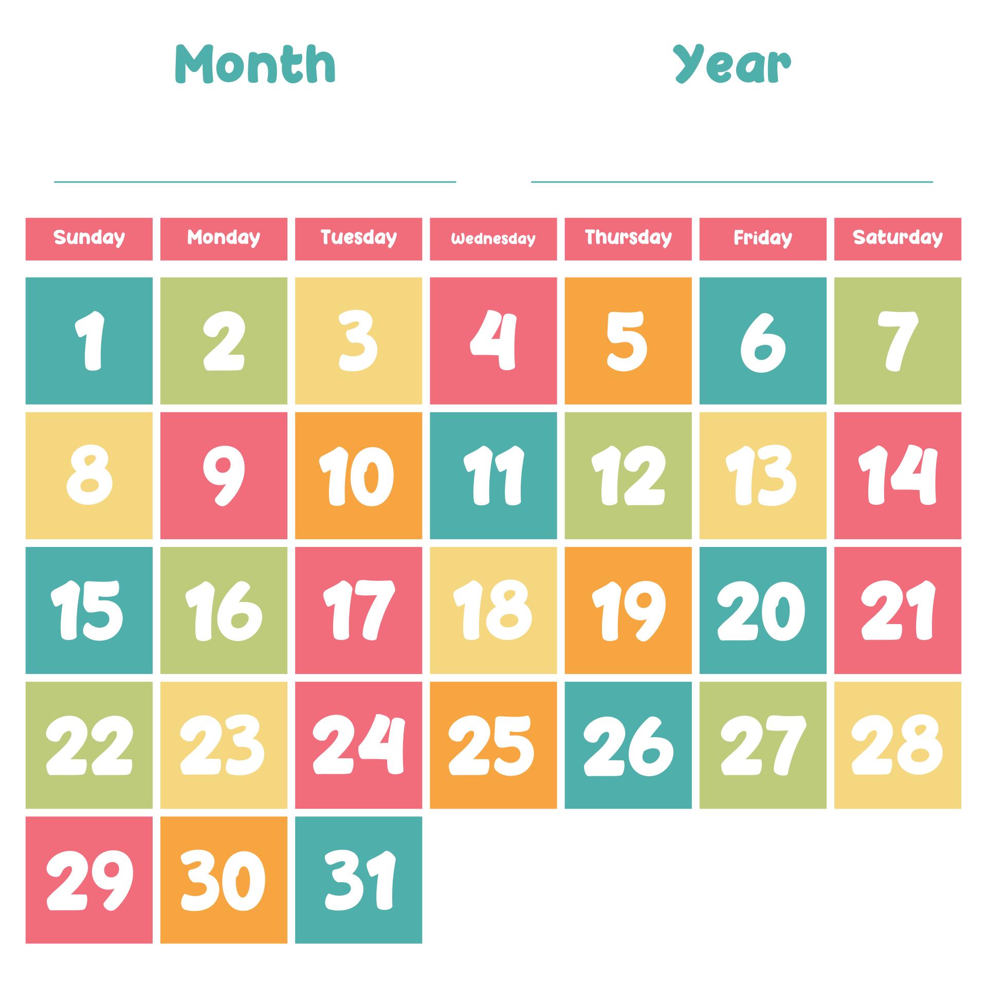 8 Best Printable Spring Calendar Numbers - Printablee-Free Large Number Printable Calendars