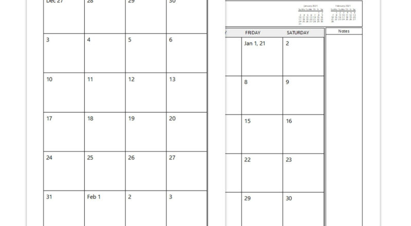 A4 Two Page Per Month 2021 Monthly Calendar Printable   Etsy-2021 Monthly Calendar 2 Page Per Month Printable