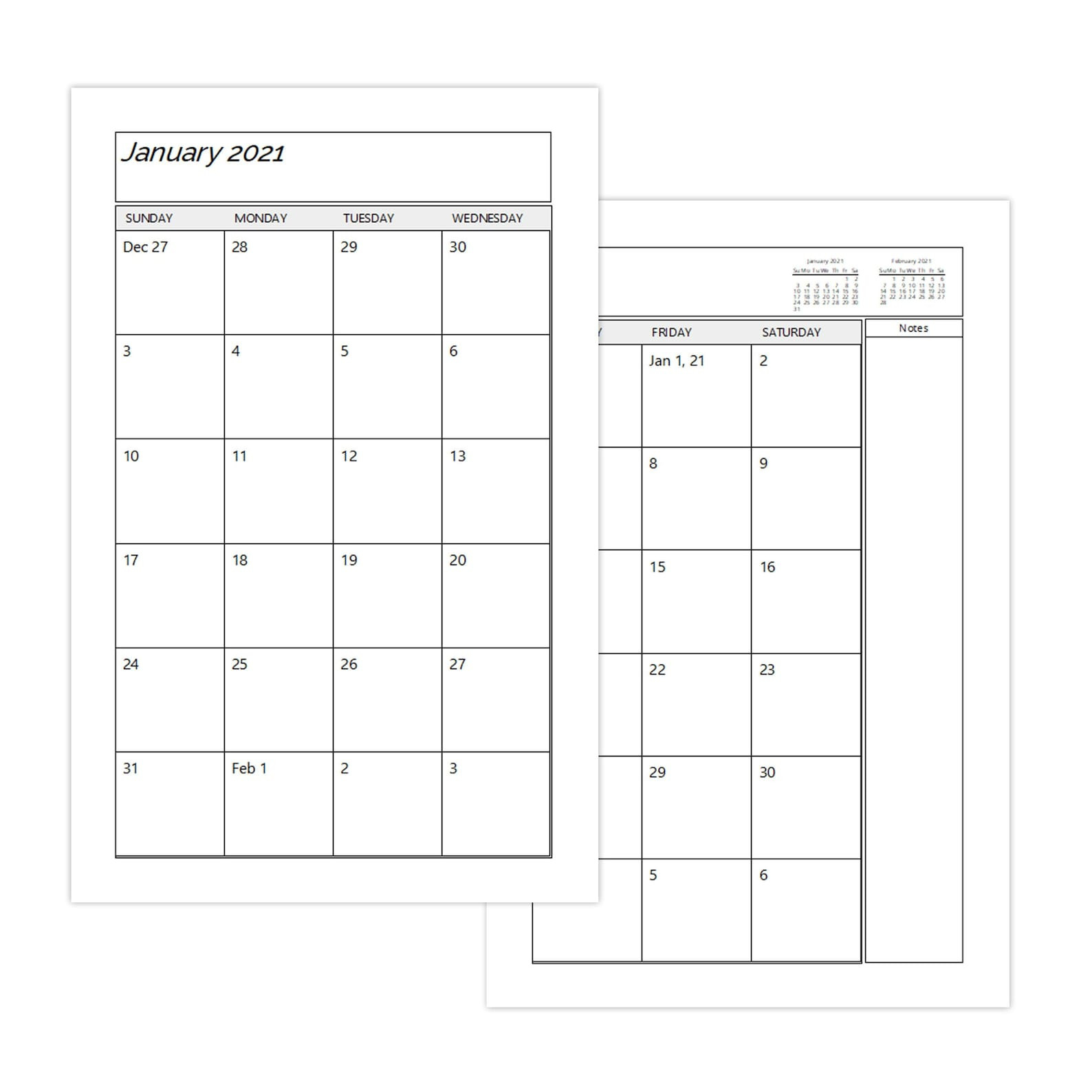 A4 Two Page Per Month 2021 Monthly Calendar Printable | Etsy-2021 Monthly Calendar 2 Page Per Month Printable