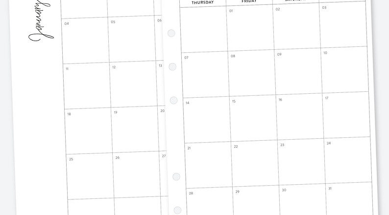 A5 2021 Monthly Planner Printable Month On 2 Pages-2 Page Calendar 2021