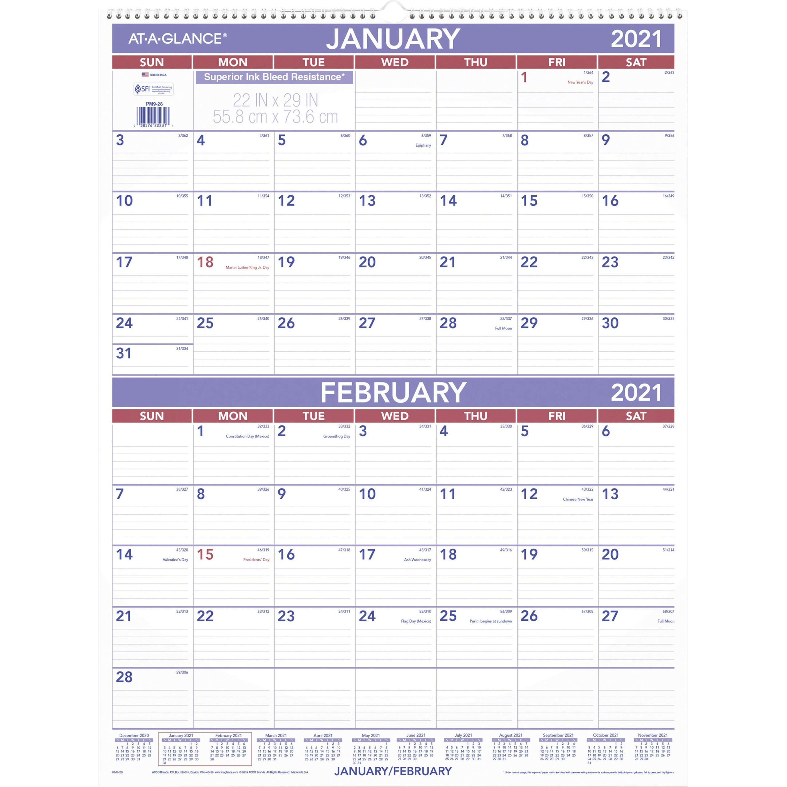 At-A-Glance 2-Month Wall Calendar - Monthly - 1 Year-2021 Monthly Calendar 2 Page Per Month Printable