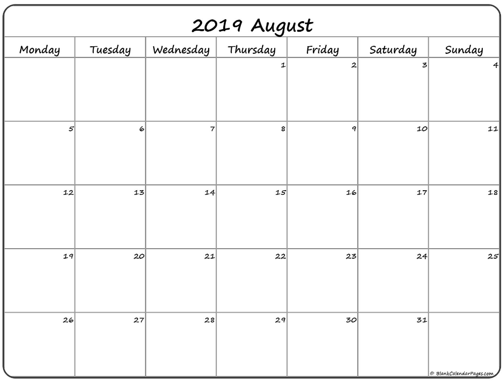 August 2019 Monday Calendar | Monday To Sunday | Calendar-August 2021 Calendar Monday Through Friday Only