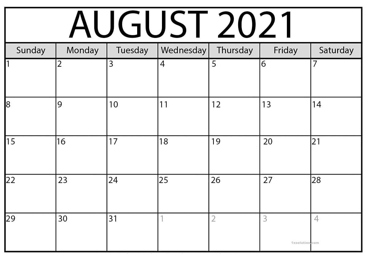 August 2021 Calendar Printable Schedule Excelsheet | Calendar-2021 Calendar Squares To Rpint