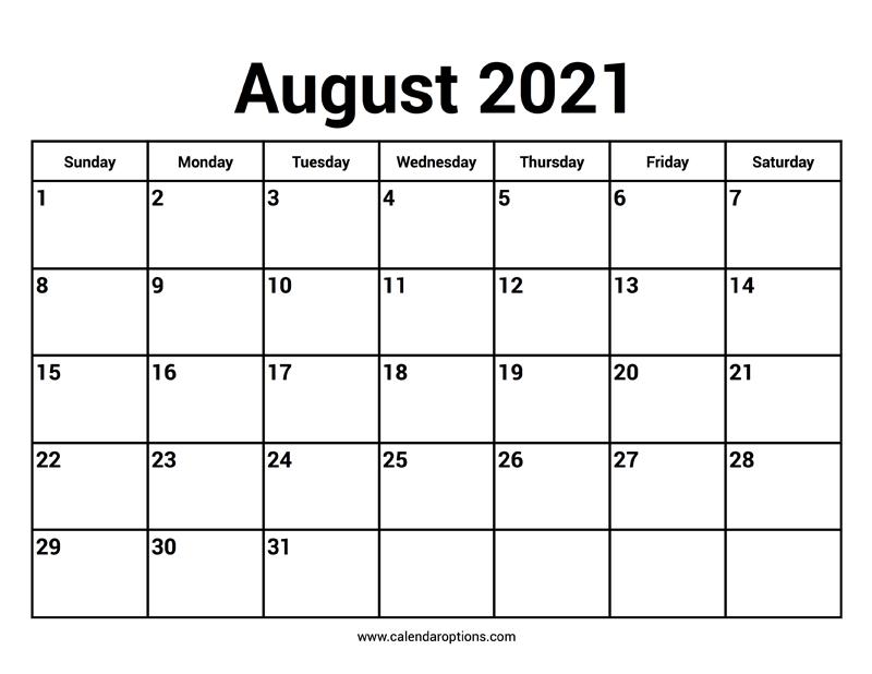 August 2021 Calendars - Calendar Options-4 X 6 Calendars 2021