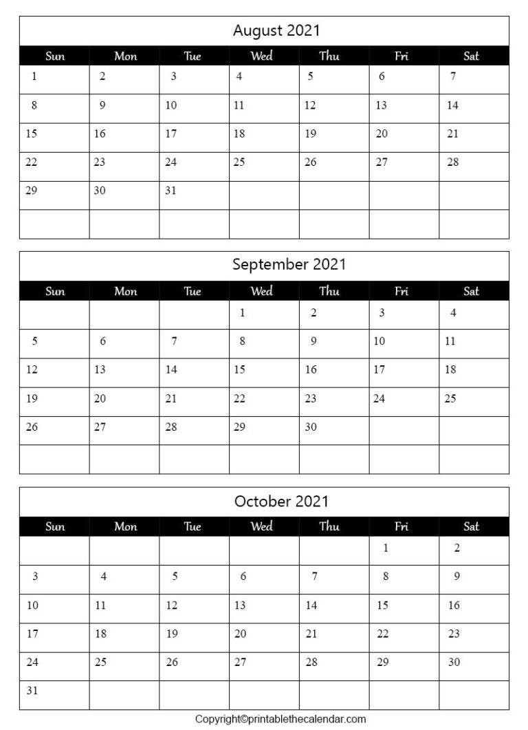 August September October 2021 Calendar [Free Printable-2021 81/2 By 11 Attendance Calendar Template