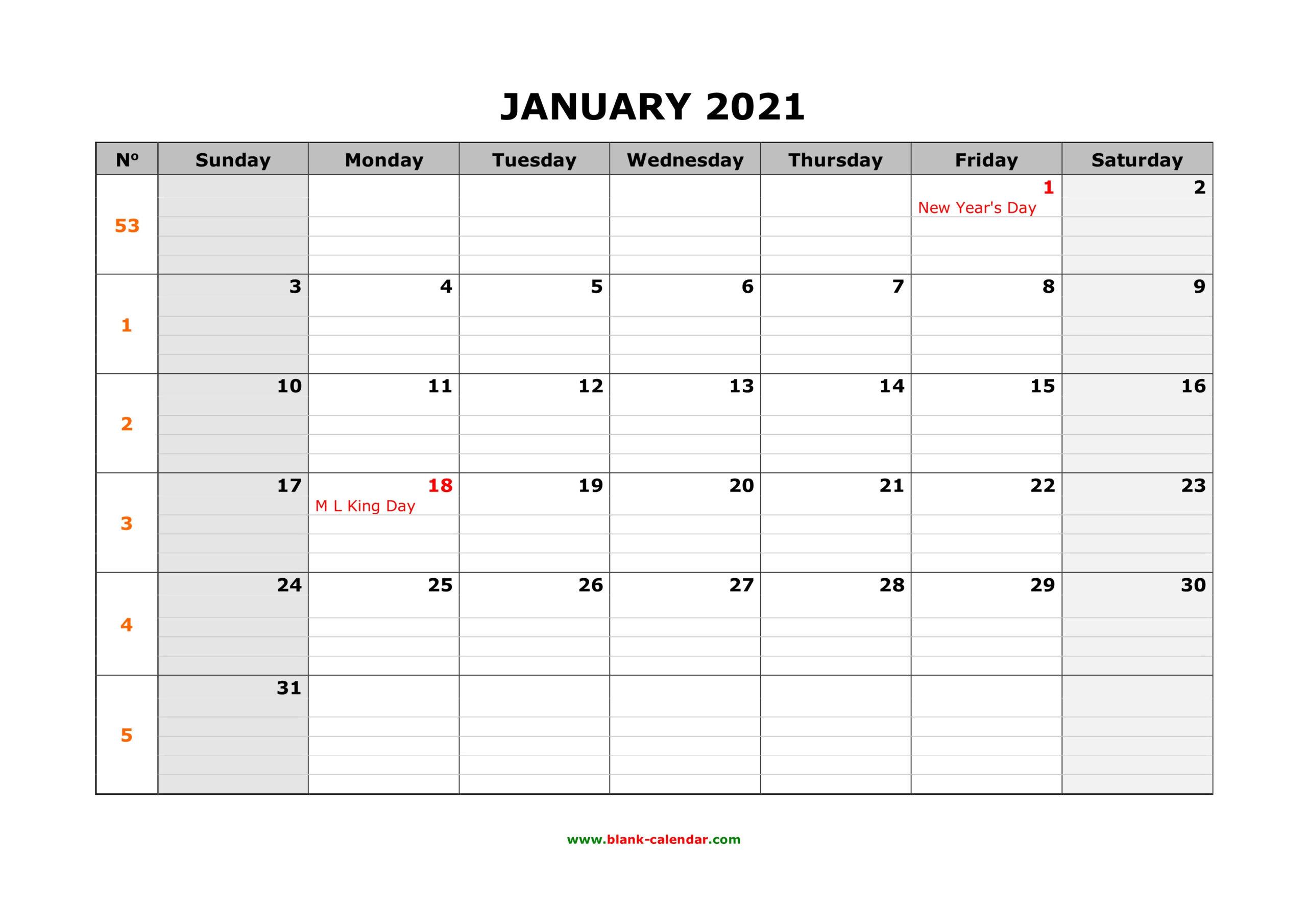 Big Calendar 2021-2021 Monthly Calendar 2 Page Per Month Printable