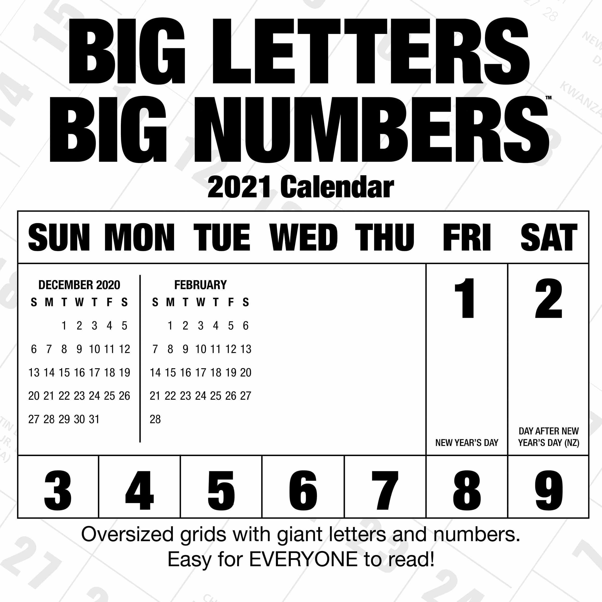 Big Letters, Big Numbers Calendar 2021 At Calendar Club-Free Large Number Printable Calendars