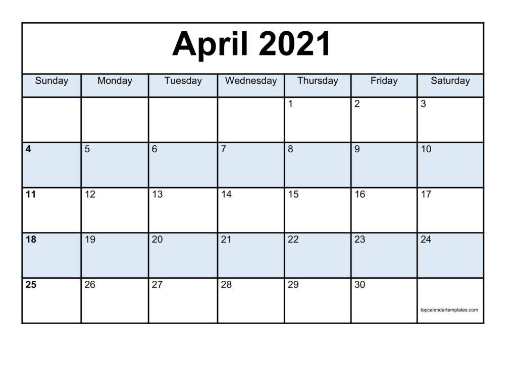 Blank April 2021 Calendar Template - Monthly Planner-Printable Calendar 2021 For Monthly Bills