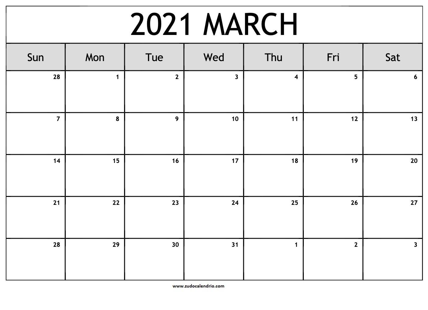 Blank March 2021 Calendar Pdf   Zudocalendrio-2021 Calendar Printable Free Pdf March