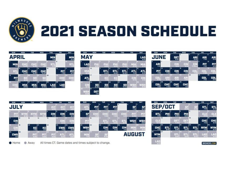 Brewers Release Complete 2021 Schedule-Printable 2021 Full Nfl Schedule