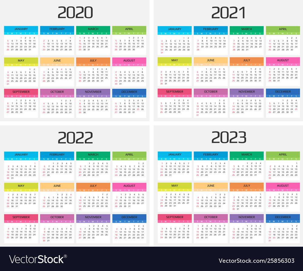 Calendar 2020 2021 2022 2023 Template 12 Vector Image-2021 2022 2023 Printable Calendar