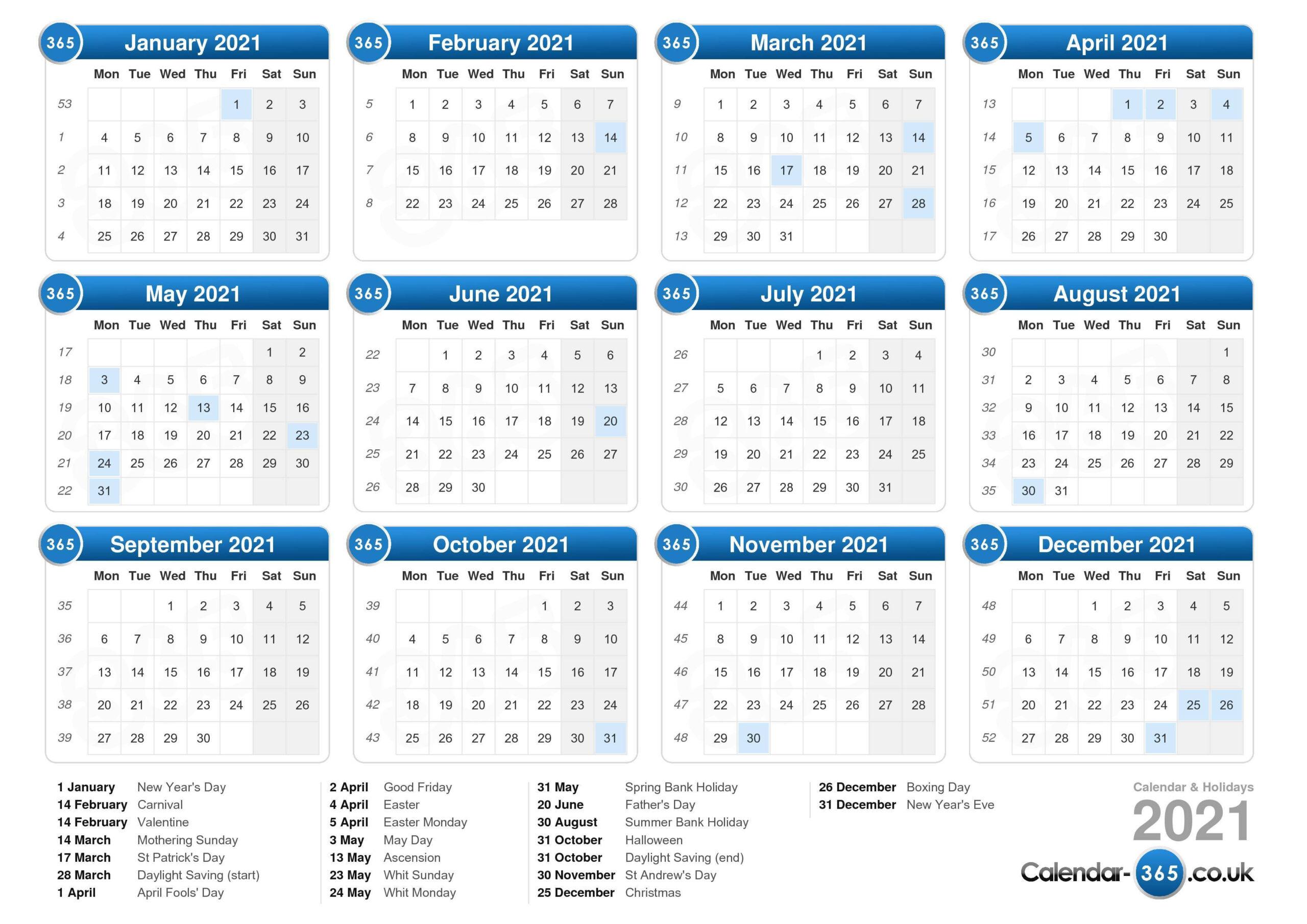 Calendar 2021-2021 Vacation Calendars