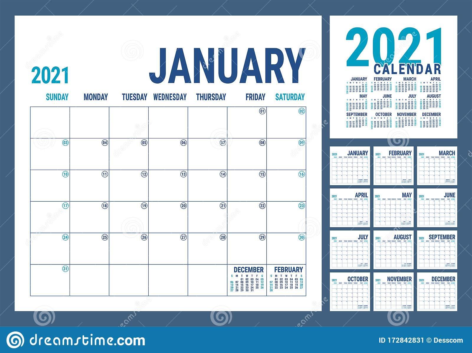 Calendar 2021. English Calender Template. Vector Square-2021 Office Vacation Calendar Examples