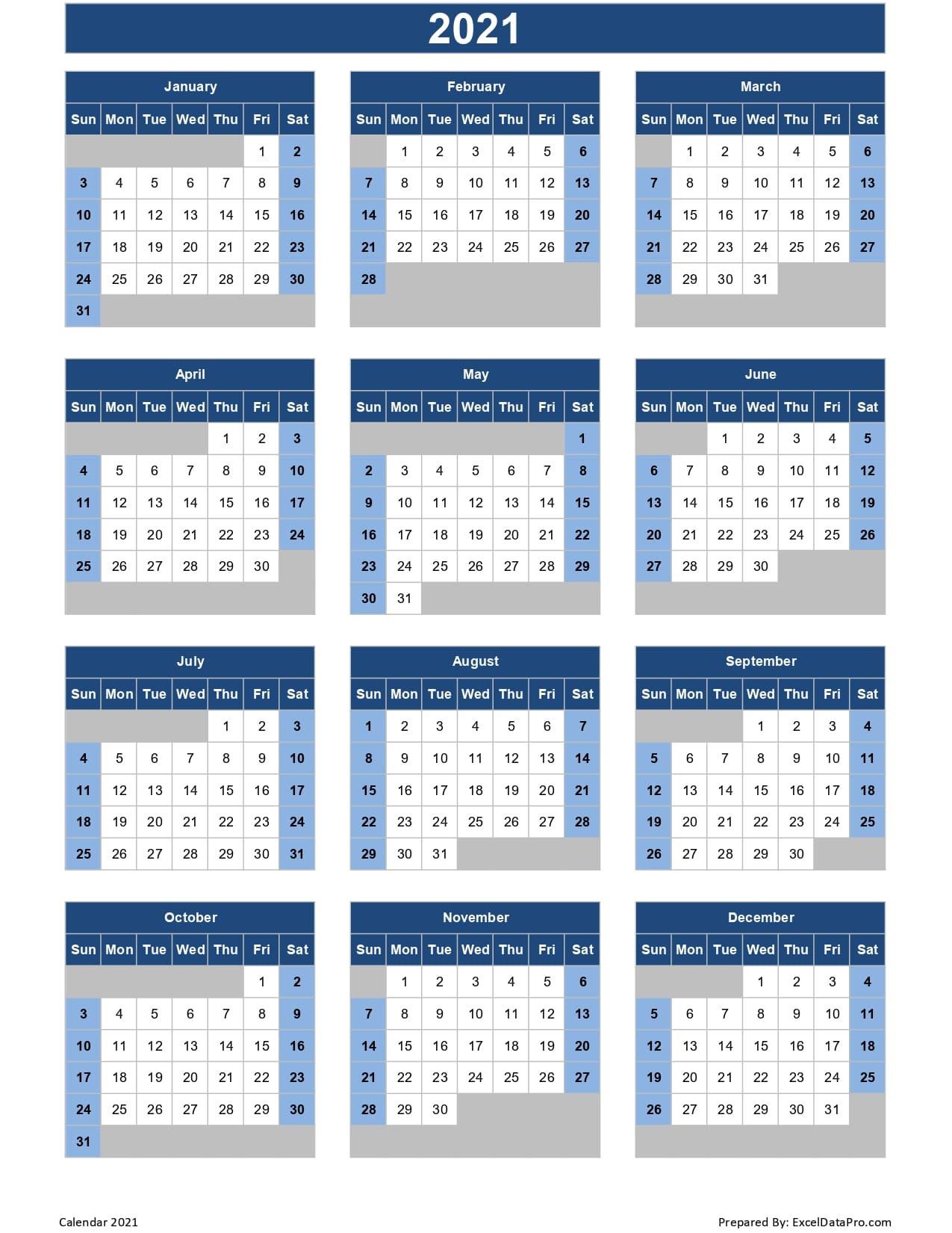 Calendar 2021 Excel Templates, Printable Pdfs & Images-2021 Calendar Squares To Rpint